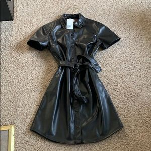 H&M Divided Faux Leather Dress